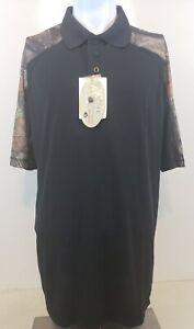 Guide Gear Men Size LT Mossy Oak Black Camo Short Sleeve Polo Shirt NWT
