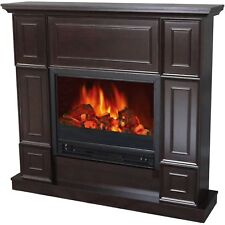"Electric Fireplace Indoor Living Room Bedroom Heater 44"" Mantle Realistic Flame"