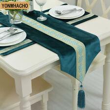 """7PCS/set Luxury European blue Italian velvet 102""""  table runner place mats N546"""
