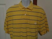 CHAPS Polo Shirt Men's Size XL Yellow with Blue Stripes Cotton Made in India