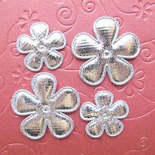 "60 x Mix Size (1"" & 1.5"") Padded Silver Shiny Felt Flower X'mas Appliques ST609"