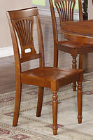 Set of 4 Plainville dinette kitchen & dining chairs w/ wood seat in saddle brown