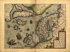 Ortelius Europa Escandinavia Dinamarca Suecia Islandia Groenlandia Nuevo Repro Mapa Antiguo