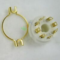 4pc Gilded 8pin Ceramic vacuum tube socket mount gold for EL34 KT88 6550 audio