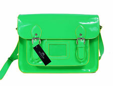 Ladies Womens Girls School Satchel Patent Pvc Leather Bag Classic Bags Neon Q421