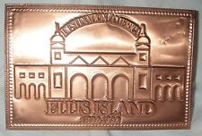 ELLIS ISLAND RARE EMBOSSED COPPER POSTCARD 1992 100th ANNIVERSARY NEW