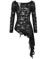 Dark In Love Womens Gothic Skull Cutout Tunic Top Black Shredded Destroyed Punk