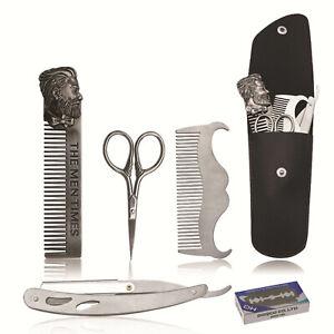 Man Beard Hair Trimming Kit Razor Comb Blade Hair Care Tool Set