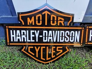 Harley Davidson Steel Sign - Mancave motorcycle shed garage