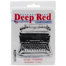 "Deep Red Cling Stamp 3""X3"" - Classic Typewriter"