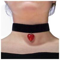 Collier Ras De Cou choker victorien gothique noir Velours coeur rouge murano