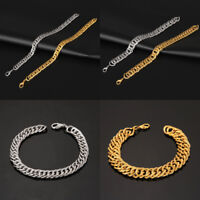 Men Gold Silver Stainless Steel Plated Bracelet Wristband Cuff Bangle Chain Link