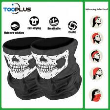 2Pcs Bandana Skull Face Mask Sun Shield Neck Gaiter Breathable Balaclava Scarf