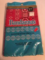 """Vintage NOS Bandanas Large 21"""" In Package 3 Pack Deadstock Made in USA"""