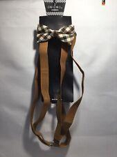 Child Boys Girls Clip-on Brown Suspenders - Checker Burgundy Navy Bowtie