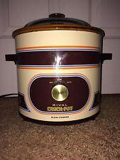 Vintage Rival Crock Pot 3 1/2 Quart Slow Cooker 3100/2,75-150W Glass Lid 3100