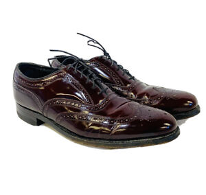 Vintage Florsheim Imperial Burgundy Leather Wingtip Brogue Dress Shoes Mens 10E