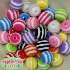40 pc Mixed Color Stripe 20mm Resin Chunky Bubblegum Beads Lot