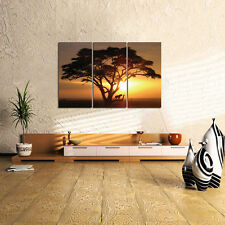 3pc Yellow Sunset Big Tree Tiger Canvas Prints Abstract Wall Art Painting Poster