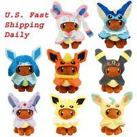 "Pokemon 8"" Eevee Poncho Cosplay Cape Plush Toy Stuffed Animal Doll US Stock"