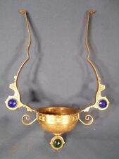 ANTIQUE PARKER VICTORIAN HANGING OIL LAMP FRAME WITH JEWELS Ladies Head Font Cup
