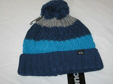 BNWT - BENCH Hyperconnected Wool Blend Striped Bobble Beanie Hat  Blue Grey