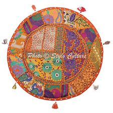 Indian Cotton Round Patchwork Floor Pillow Cover Boho Embroidered Vintage 22x22