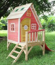 CLEARANCE SALE Peek-A-Boo Playhouse, Cubbie With Slide & Chimney - Pink