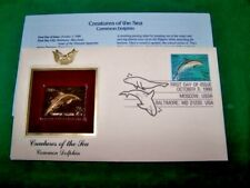 First Day Issue Gold Stamp Creatures of the Sea Dolphin Oct. 3, 1990