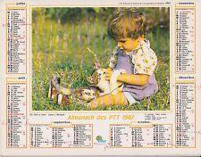 CALENDRIER ALMANACH des postes PTT 1987 chaton