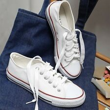 Womens Girls Fashion Low Top Canvas Shoes Walking Sneaker Casual Creepers Flats