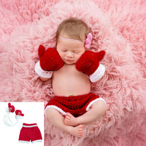 Baby Knit Crochet Boxing Gloves Pants Photo Prop Outfit Baby Shower Gift 0-3M Lu
