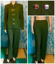 St John Knits Collection Green Jacket Pants L 12 14 2pc Suit Gold Buttons Zipper