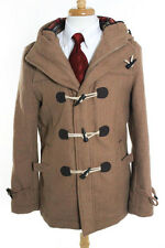 Pull & Bear Brown Wool Long Sleeve Hooded Jacket Size Large