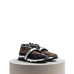 FENDI 850$ Rockoko Sneakers In Black & Brown FF Logo Fabric