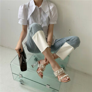 Transparent Pvc String Bead Shoes Woman Fashion Open Toe Slippers