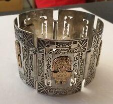 Vintage Sterling Silver 18k 18ct Peru Panel Aztec Bracelet Deities Gods Bracelet