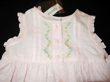 12 Mo. NWT Parisian BeBe Dress & Headband Pink Embroidery Pleats Sash Ruffles