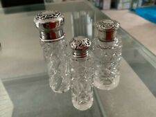 More details for trio antique silver perfume bottles hallmarked - superb cut glass
