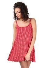 Vestiti da donna rossa fantasia pois con spalline