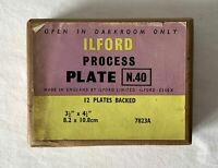 """Sealed 1960's ILFORD N.40 Process Backed Photographic Plates 3 1/2 x 4 1/2"""""""
