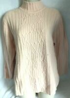 Turtleneck Sweater Cable Knit M Soft Pink Angora Rabbit Hair Lambswool Blend