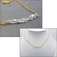 925 Sterling Silver or 14Ct gold filled Herkimer Diamond Crystals Necklace Gift