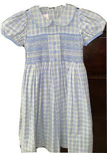 STRASBURG Girl's Size 2 Short Sleeve Plaid Smocked Dress Blue/Green