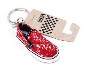 "New VANS ""Off The Wall"" Red & White Bandana Print Mini Slip-On Shoe Keychain"