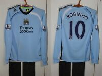 Boys Manchester City 2008 2009 Robinho Long Sleeve Shirt Soccer Jersey Le Coq