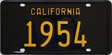 1954 California style novelty license plate, black background!