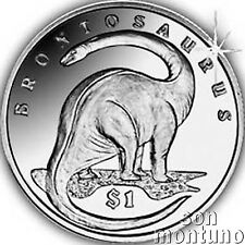 BRONTOSAURUS Lost World of Dinosaurs $1 Unc Copper Nickel Coin 2006 SIERRA LEONE