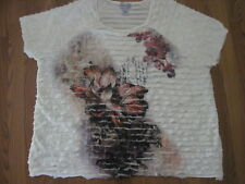 Maggie Barnes for CATHERINES  Layered Ivory Print S/Slv TUNIC TOP. size 3X