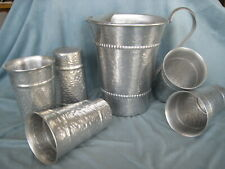 Vtg Gailstyn Hammered Aluminum Pitcher & Tumblers~2 qt.~ice lip~Retro cool!